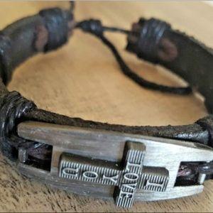 Jewelry - Christian Leather Bracelet  Religion Cross
